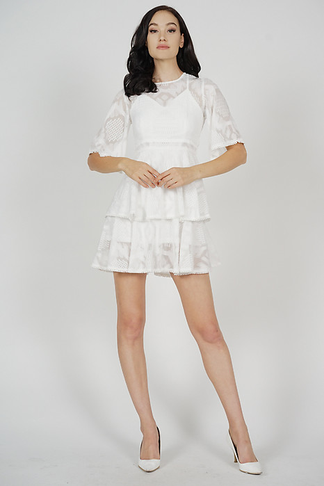 Perie Sheer Tiered Dress in White