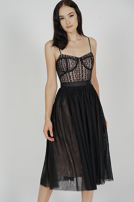 Merie Flared Tulle Dress in Black
