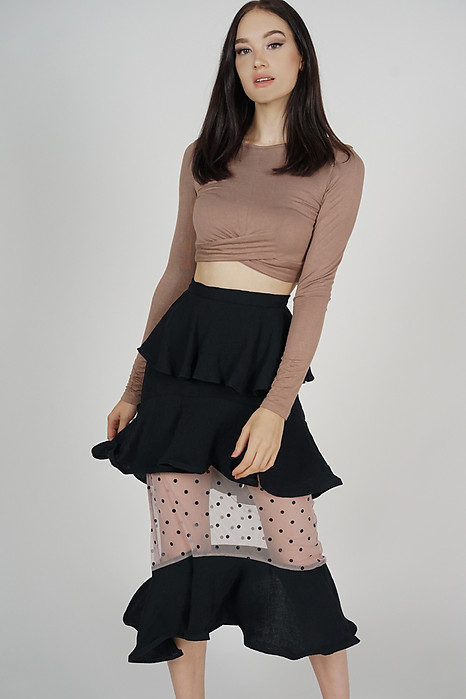 Amida Tiered Flounce Skirt in Black - Arriving Soon