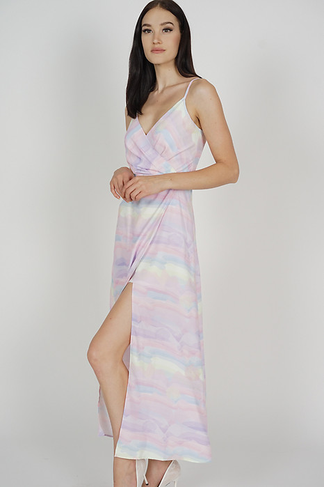 Nazra Overlap Dress in Multi Pastel