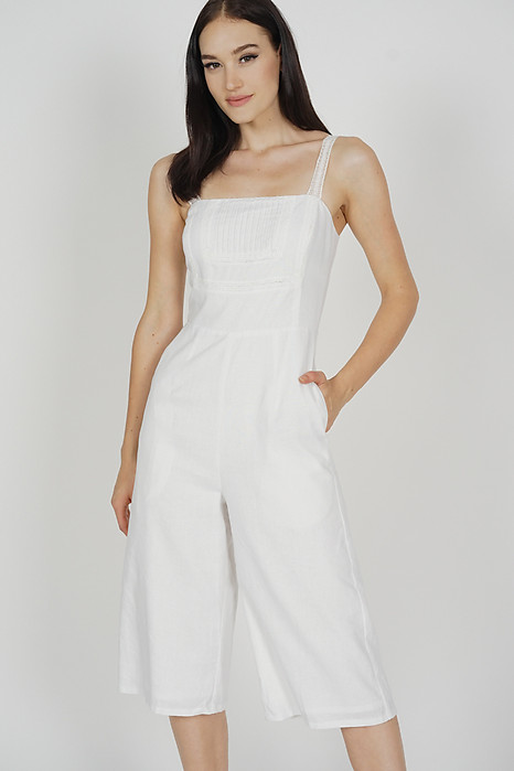 Dianne Pleated Front Jumpsuit in White - Arriving Soon