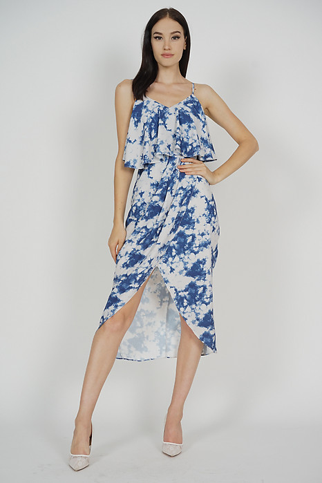 Kanzie Overlay Drape Dress in Blue Astract