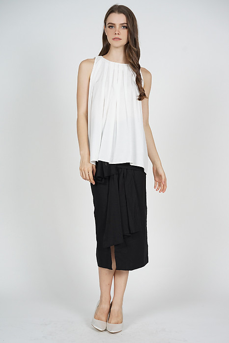 Maika Pleated Flare Top in White - Online Exclusive