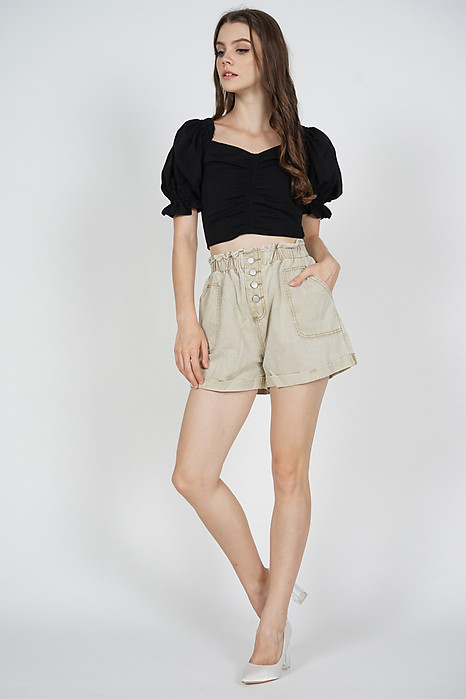 Dionea Paper Bag Shorts in Cream - Online Exclusive