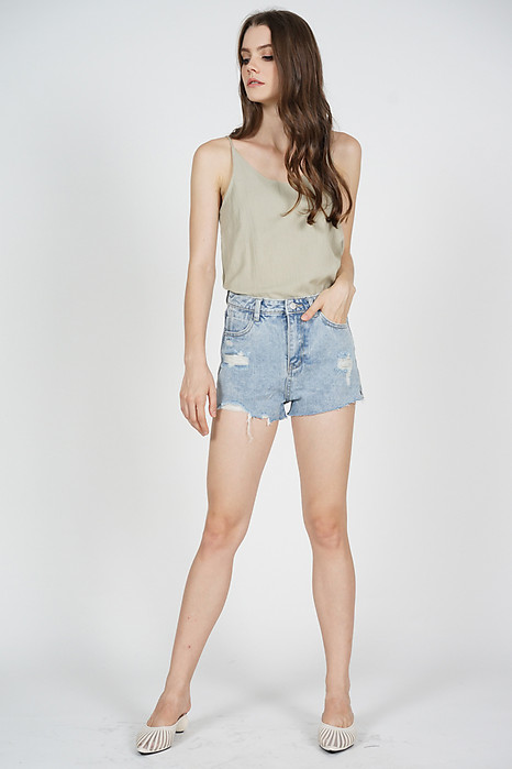 Maidra Frayed Denim Shorts in Blue - Online Exclusive