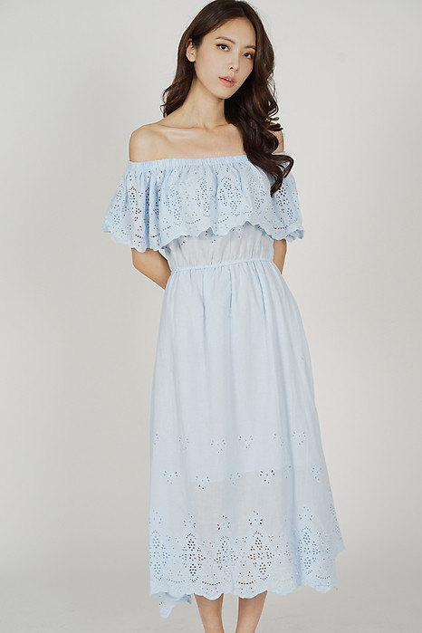 Blaire Crochet Dress in Ash Blue - Arriving Soon