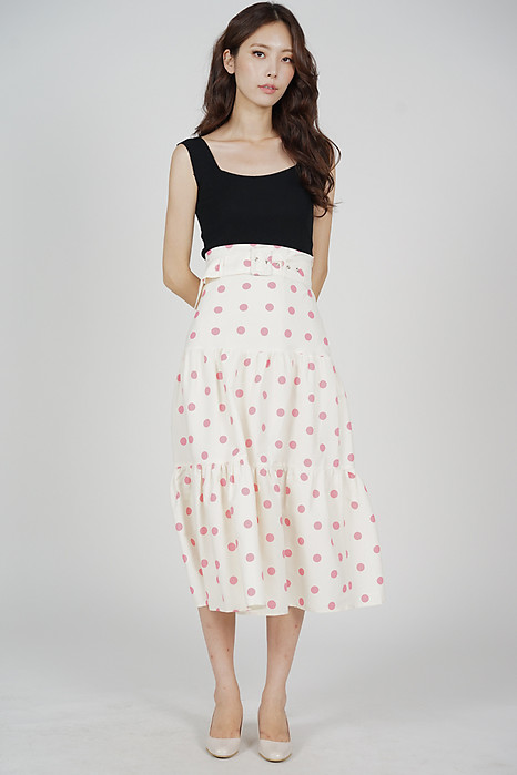 Mierah Midi Skirt in Cream Polka Dots - Arriving Soon
