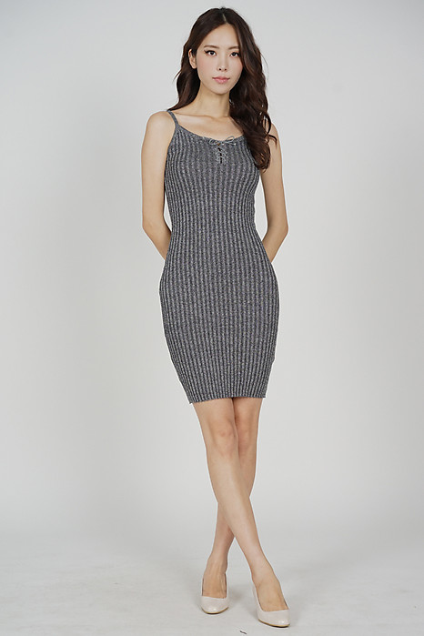 Cillian Front Tie Dress in Grey - Online Exclusive