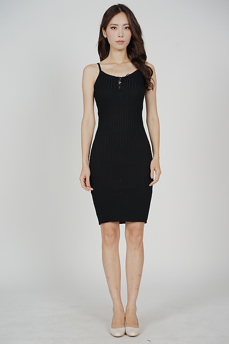Cillian Front Tie Dress in Black - Online Exclusive