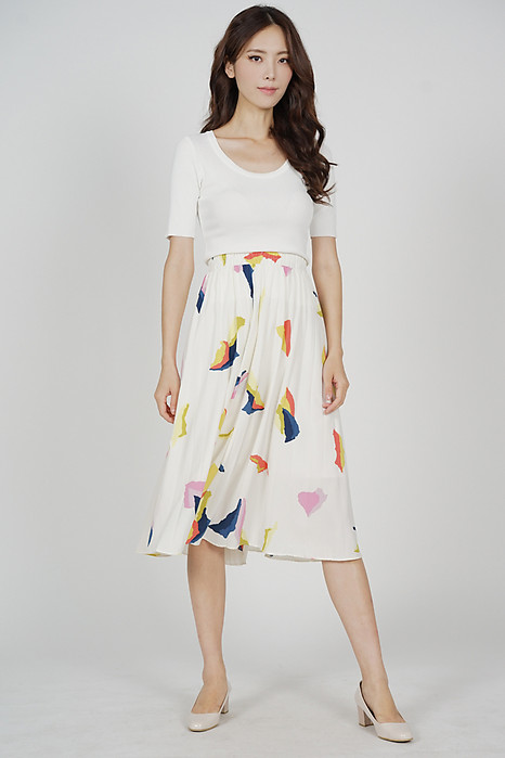 Sada Pleated Skirt in White Abstract - Arriving Soon
