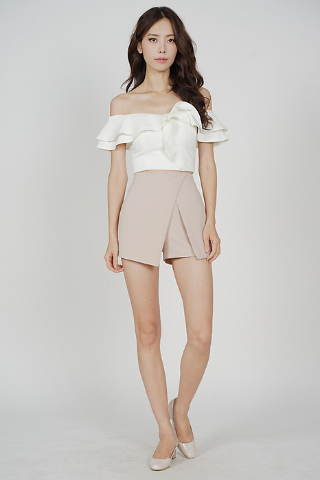 Ditsy Cutout Skorts in Nude - Arriving Soon