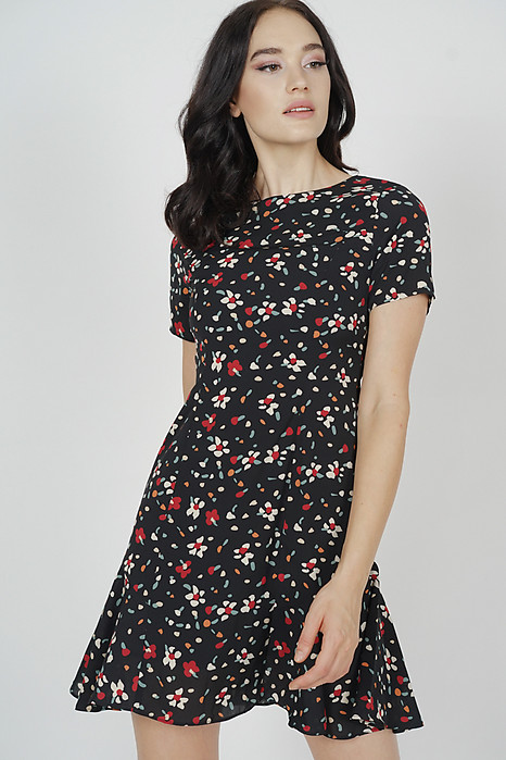 Karly Flare-Hem Dress in Black Floral - Arriving Soon