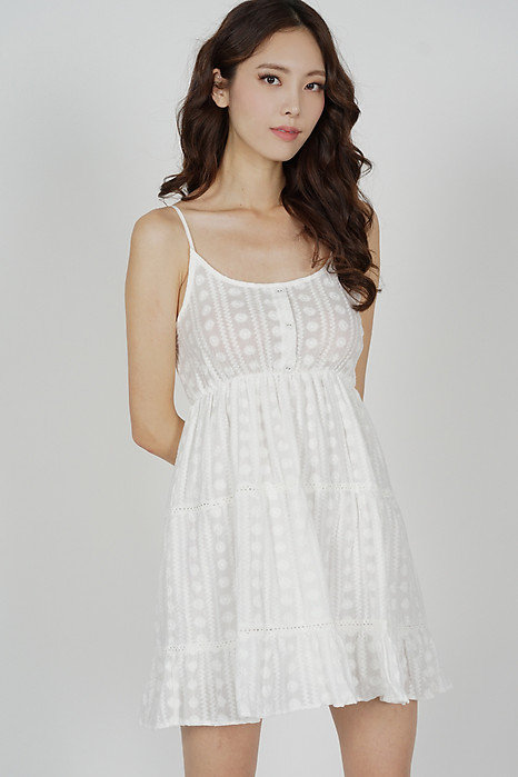 Uriel Cami Flared Dress in White - Online Exclusive