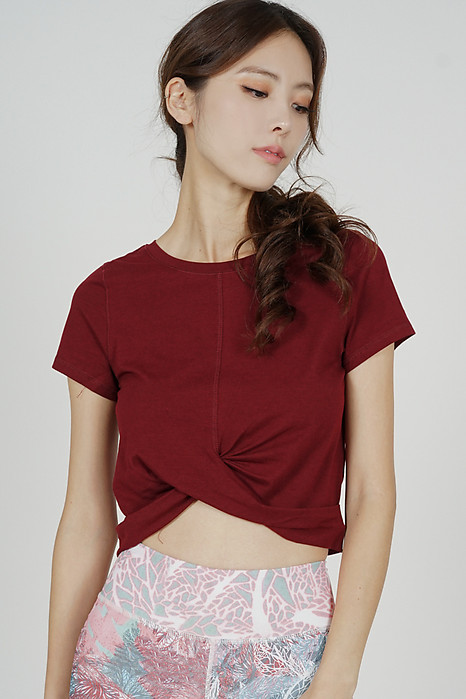 Cristel Knotted Top in Oxblood - Arriving Soon