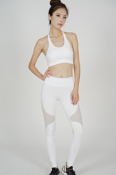 Ericka Mesh Yoga Pants in White - Arriving Soon