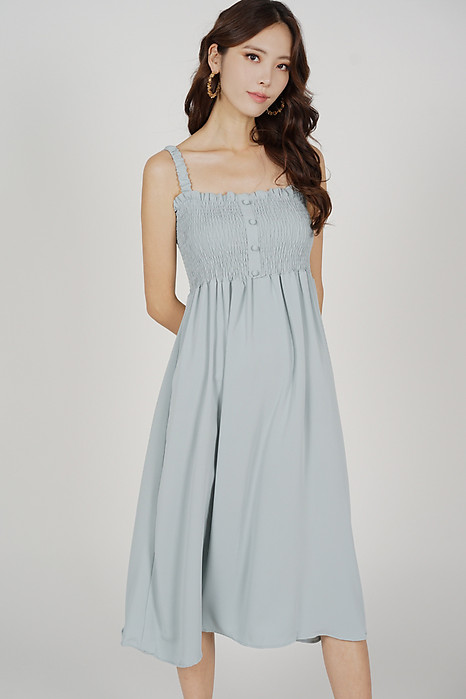 Ivia Smock Dress in Ash Blue - Online Exclusive