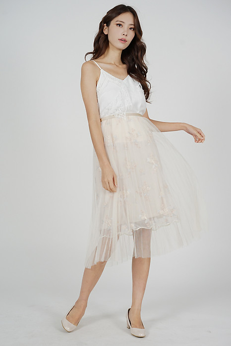 Charel Embroidered Tulle Skirt in Cream - Online Exclusive
