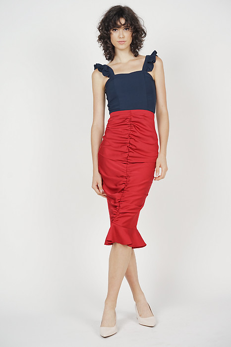 Ruched Front Skirt in Red - Arriving Soon