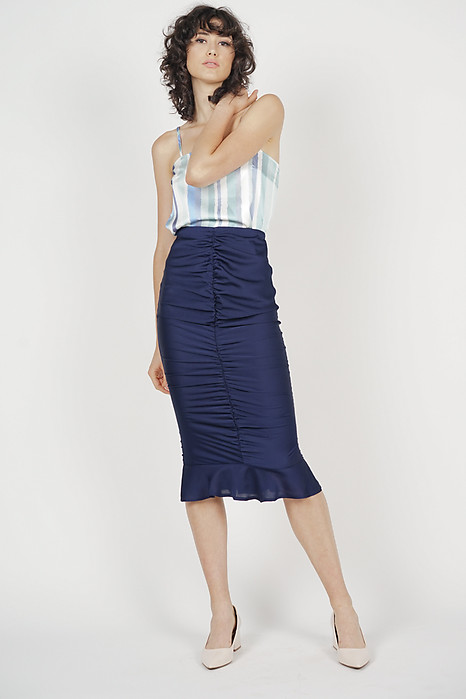 Ruched Front Skirt in Midnight