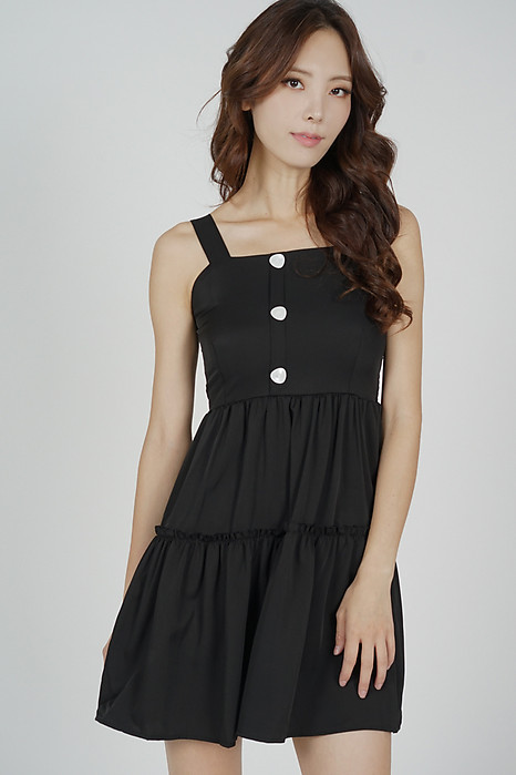 Tysie Gathered Dress in Black - Online Exclusive