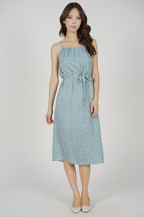 Adren Back Tie Dress in Ash Blue - Online Exclusive