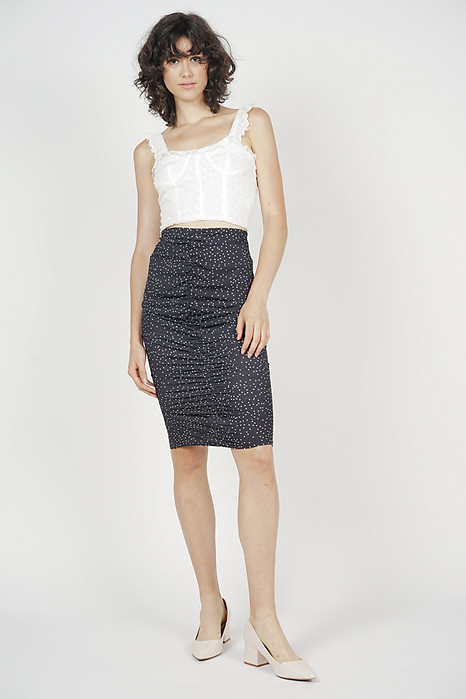 Ruched Bandage Skirt in Black Polka Dots