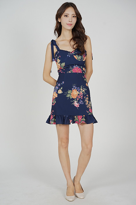 Bresca Ruffled Dress in Midnight Floral - Arriving Soon