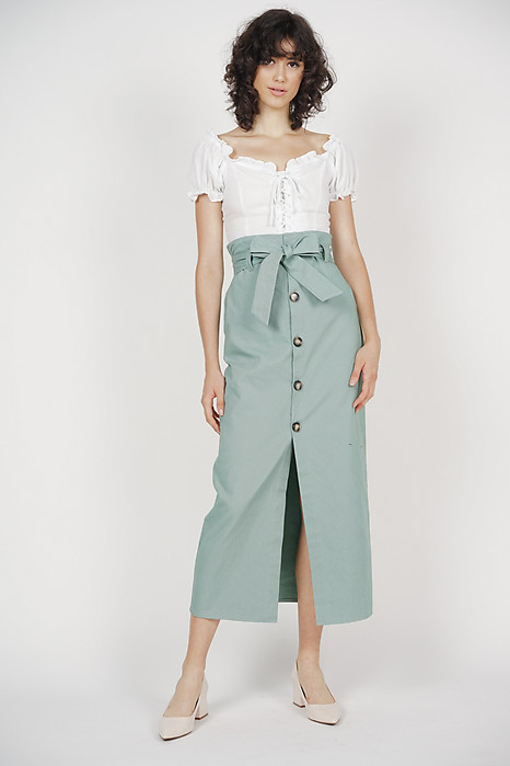Paper Bag Midi Skirt in Sage