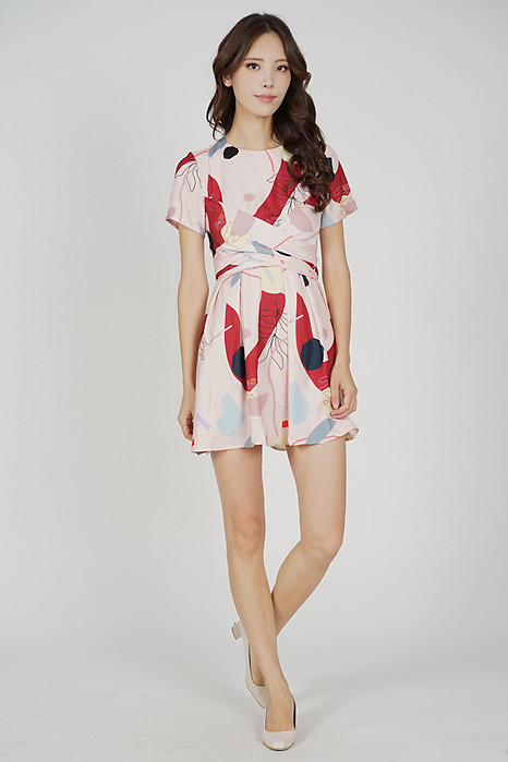Marno Abstract Criss Cross Dress in Pink Red