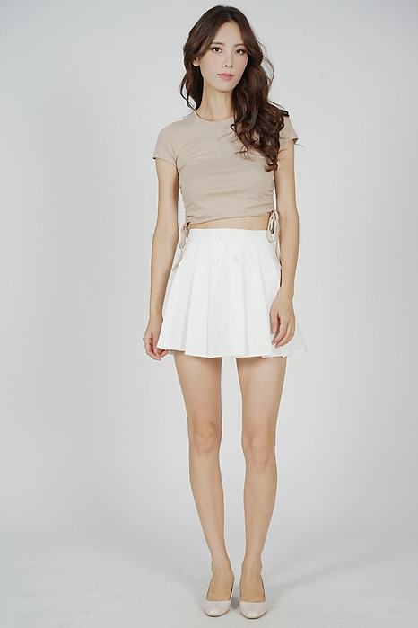 Tura Pleated Mini Skorts in White - Online Exclusive