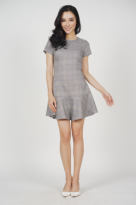 Annia Ruffled-Hem Dress in Checks