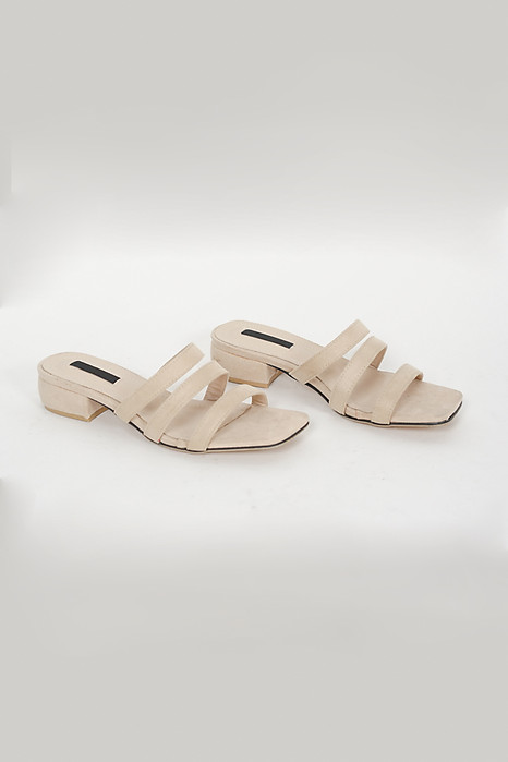 Triple Strap Block Mules in Beige - Arriving Soon
