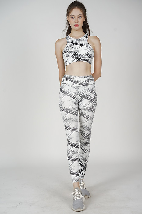Misty Cropped Top in White Abstract - Arriving Soon