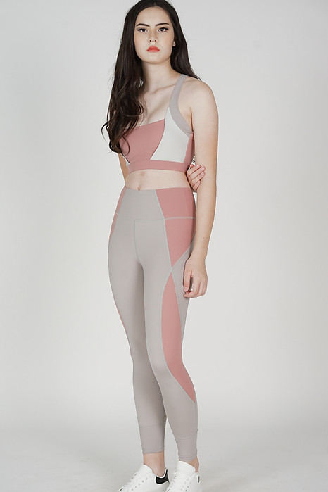 Madda Contrast Gym Tights in Grey Coral - Arriving Soon
