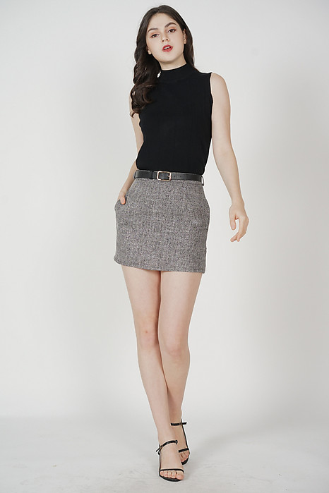 Frankie Buckled Skorts in Dark Grey