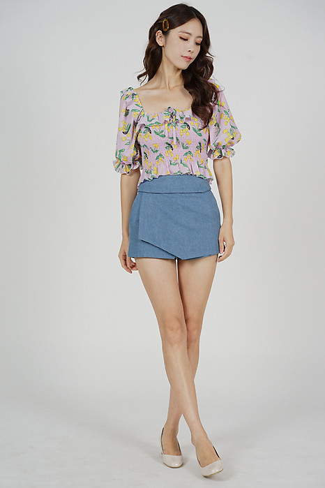 Ellina High Waist Skorts in Light Blue Denim