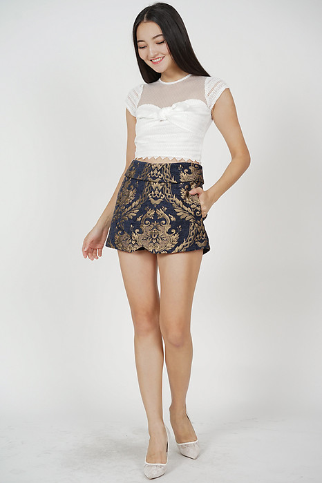 Ander High Waist Skorts in Midnight Gold