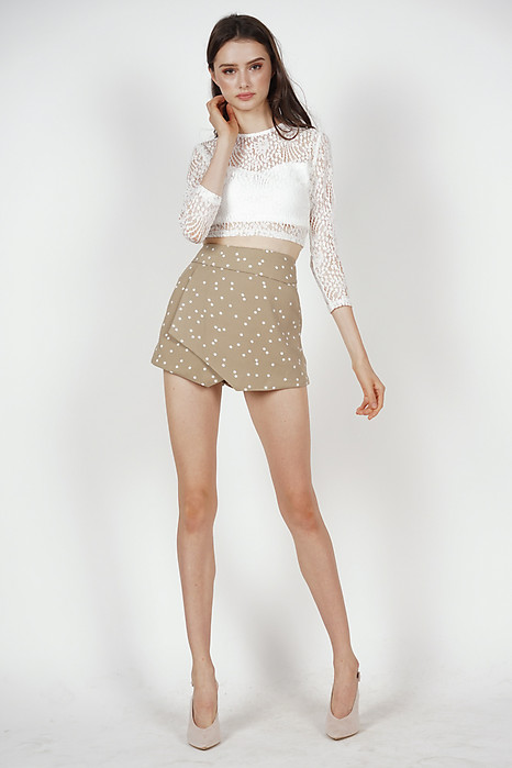 Ellina High Waist Skorts in Taupe Polka Dots