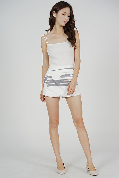 Ellina High Waist Skorts in White Grey