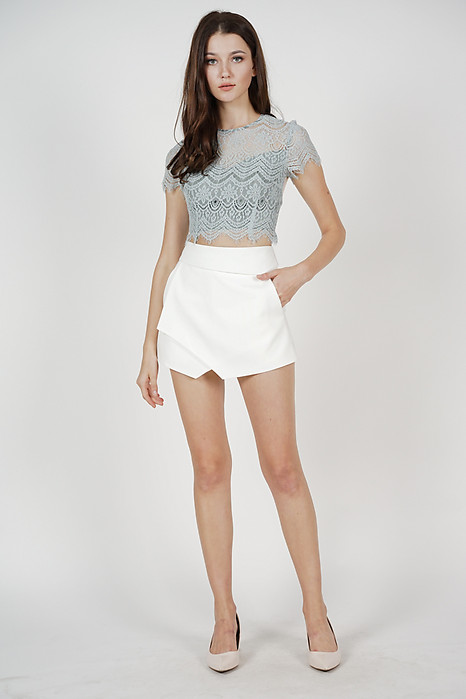 Ellina High Waist Skorts in White - Arriving Soon
