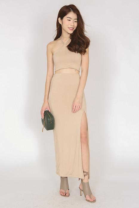 Bodycon Slit Maxi Skirt in Nude