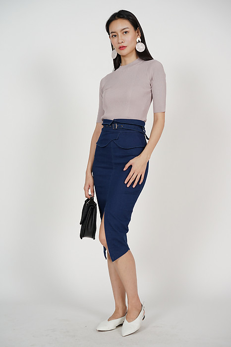Flap-Over Pencil Skirt in Denim