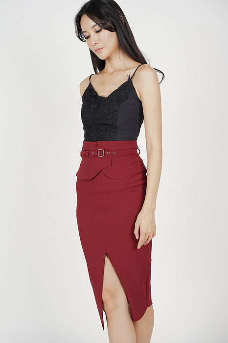 Flap-Over Pencil Skirt in Oxblood - Online Exclusive