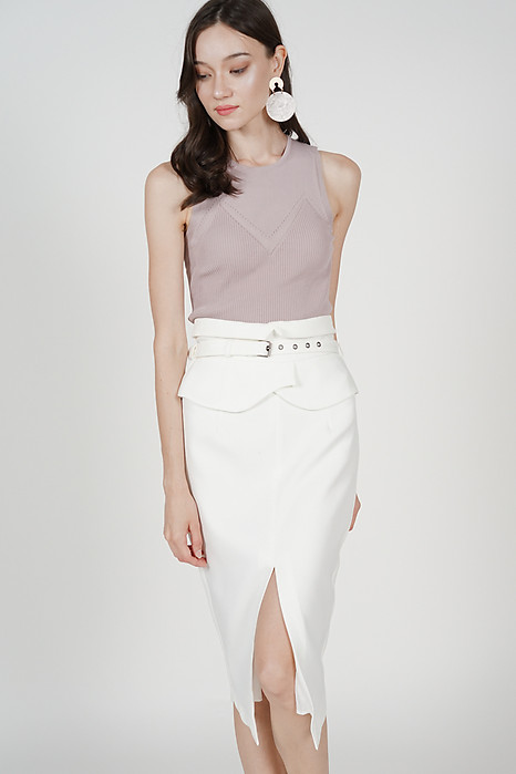 Flap-Over Pencil Skirt in White