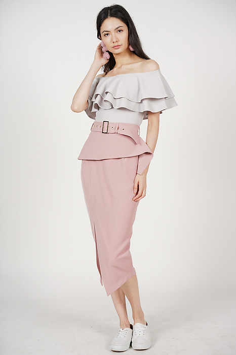 Fold-Over Pencil Skirt in Mauve