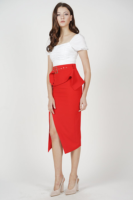 Fold-Over Pencil Skirt in Red