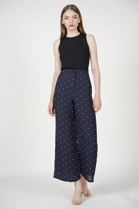 Zora Flared Pants in Navy Polka Dots
