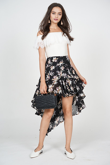 Layered Asymmetrical Skirt in Black Floral