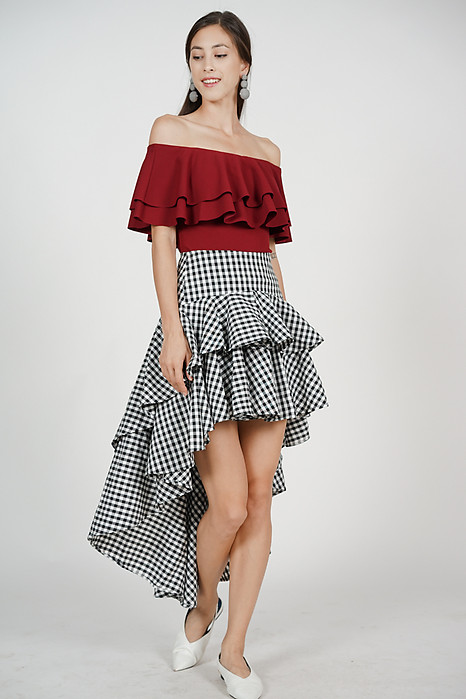 Asymmetrical Ruffled Skirt in Black Gingham