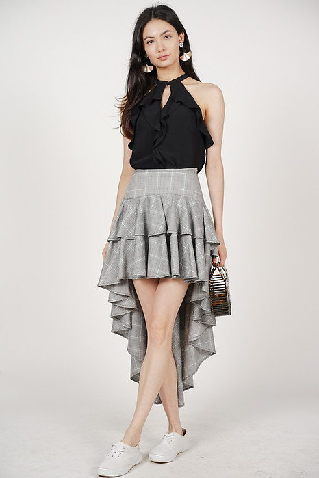 Asymmetrical Ruffled Skirt in Checks